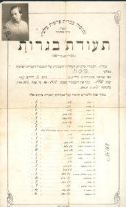 Certificate of Hebrew studies (Beltsy 1928)