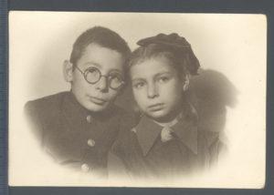Alla Sasonko with her elder brother (Leningrad 1946)