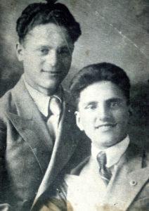 Efim Pisarenko's older brother Misha Pisarenko and his school friend (Gomel 1941)
